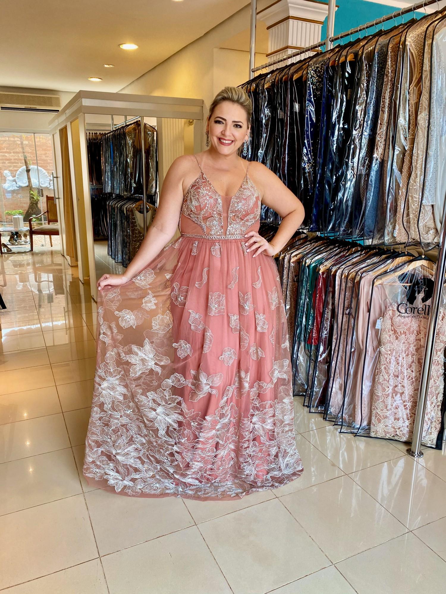 Vestido Longo Rosa Queimado Plus Size