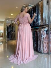 40% OFF!!! Vestido Longo Rosa Plus Size