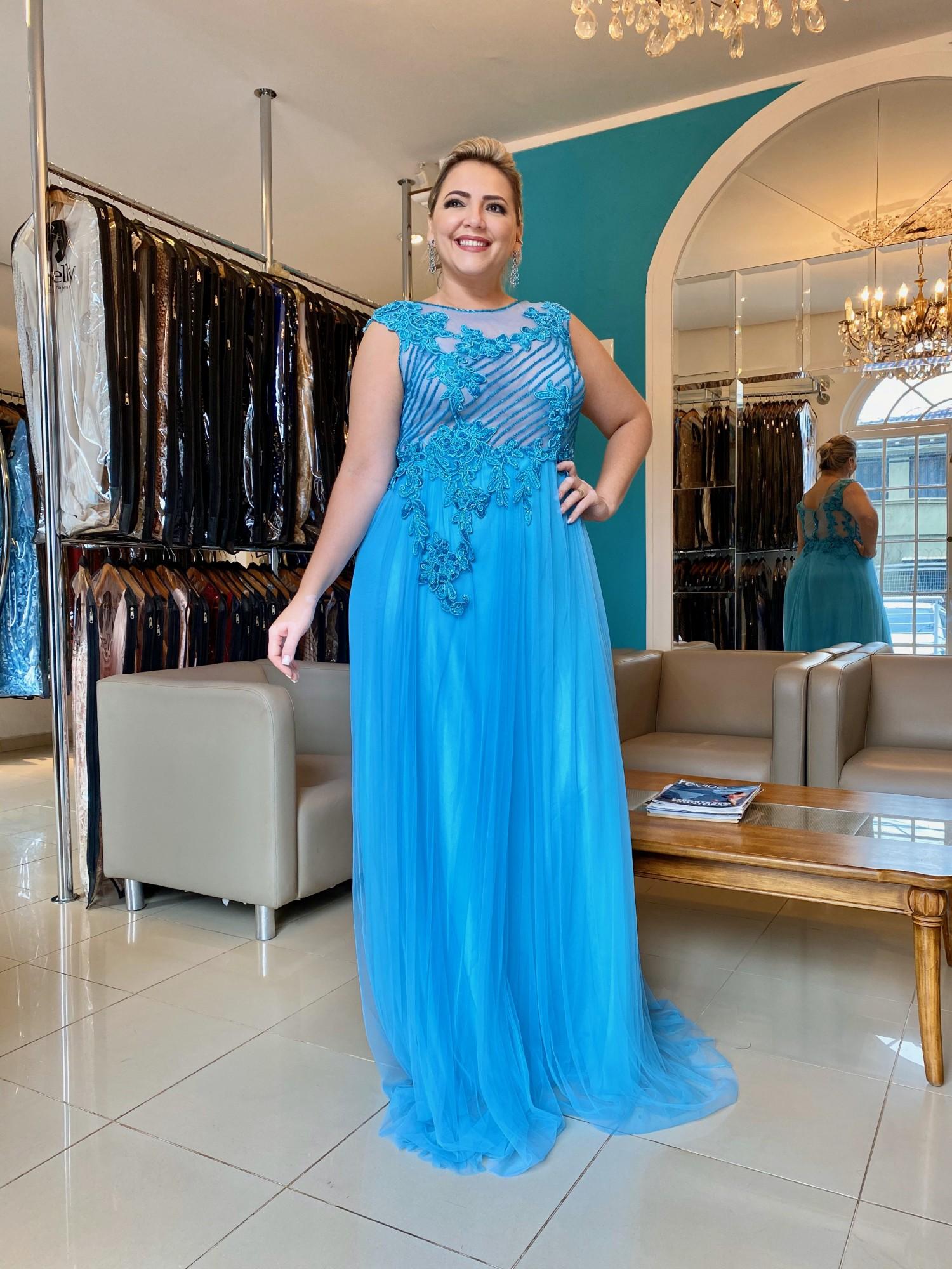 Vestido Longo Azul Turquesa Plus Size