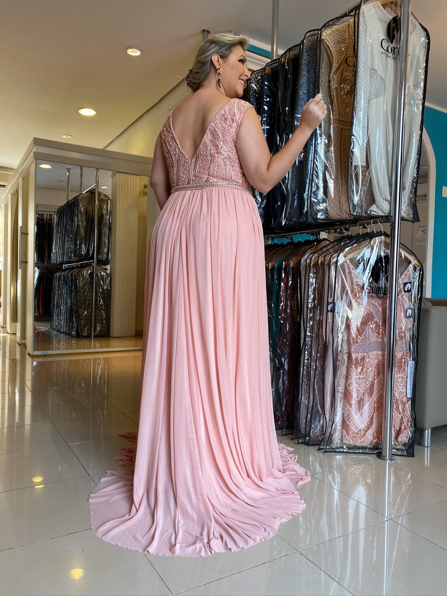 Vestido Longo Rosê Plus Size