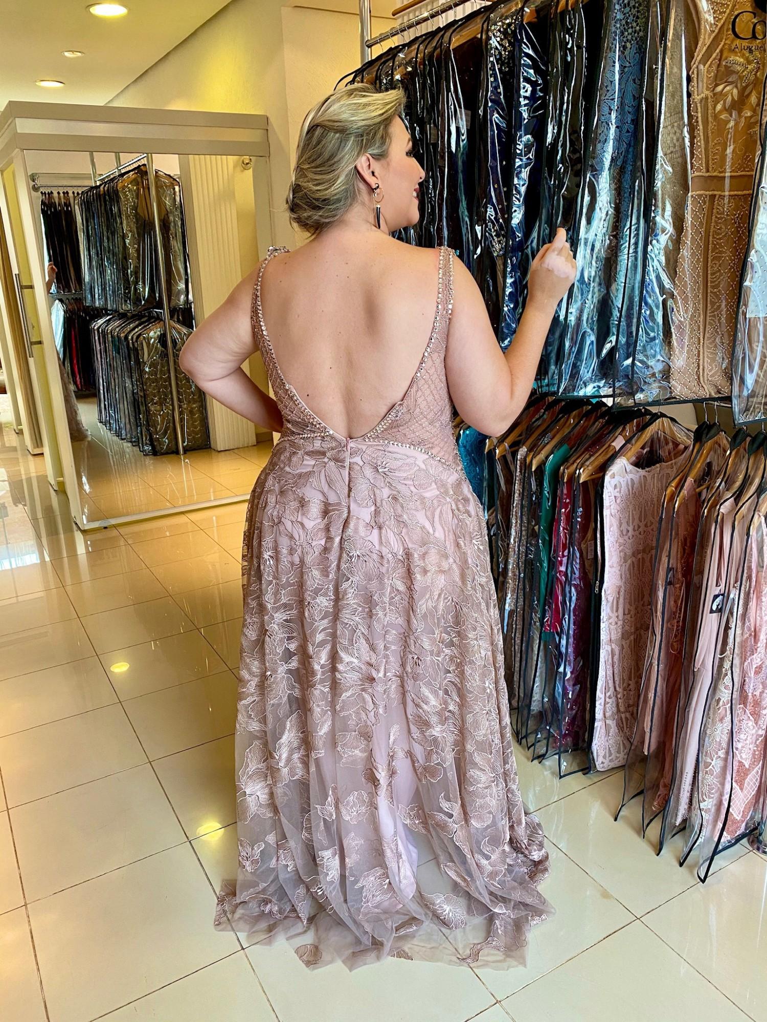 Vestido Longo Nude Lavanda Plus Size