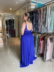 50% OFF!!! Vestido Longo Azul Plus Size