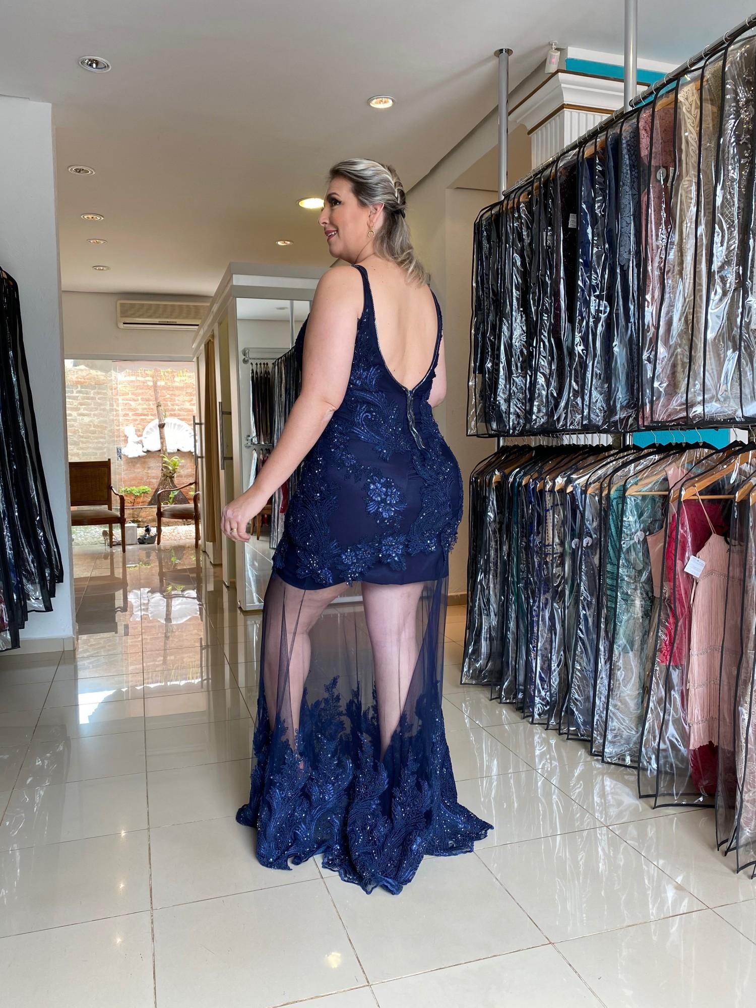Vestido Longo Azul Plus Size
