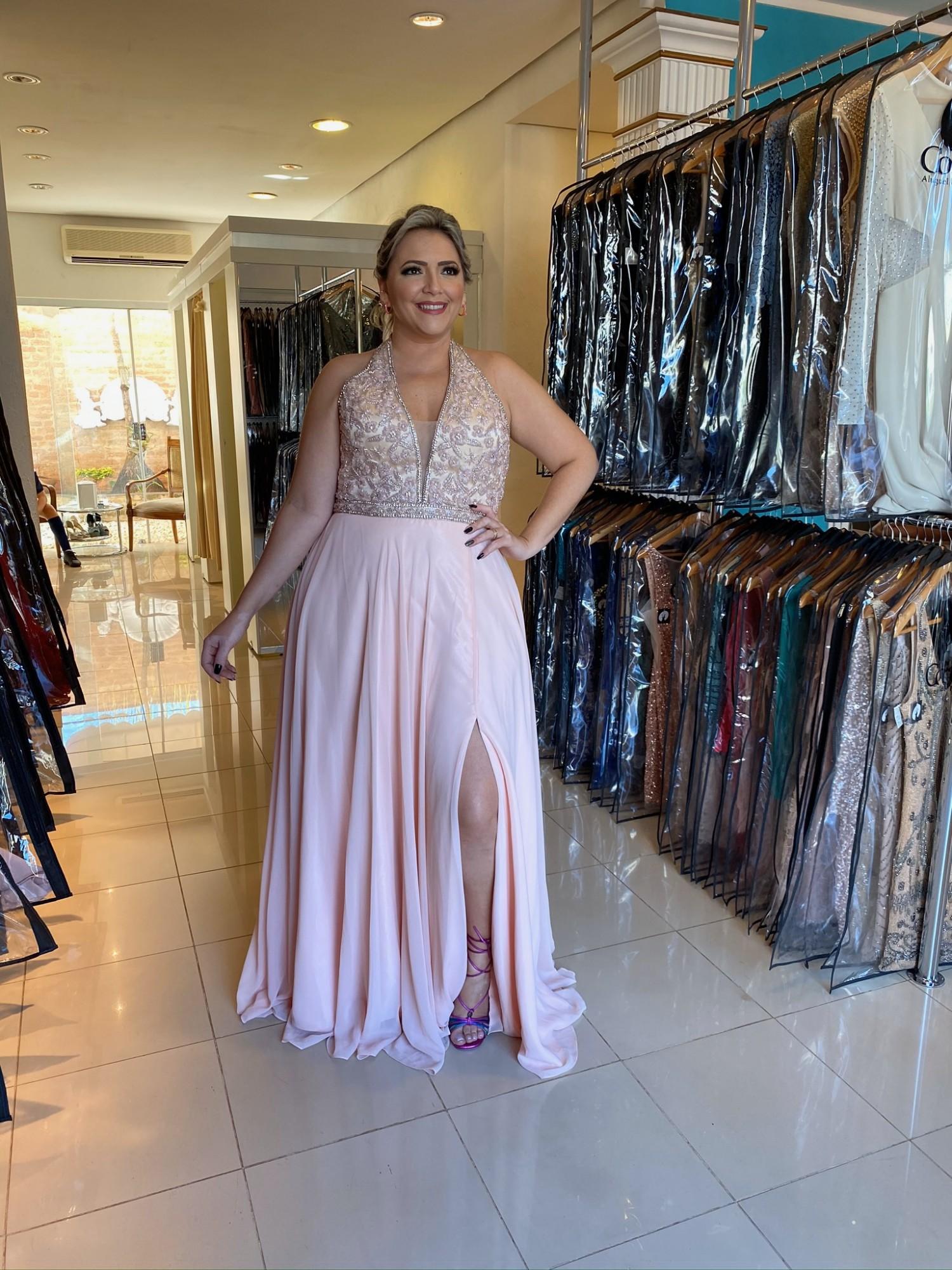 Vestido Longo Rosa Plus Size