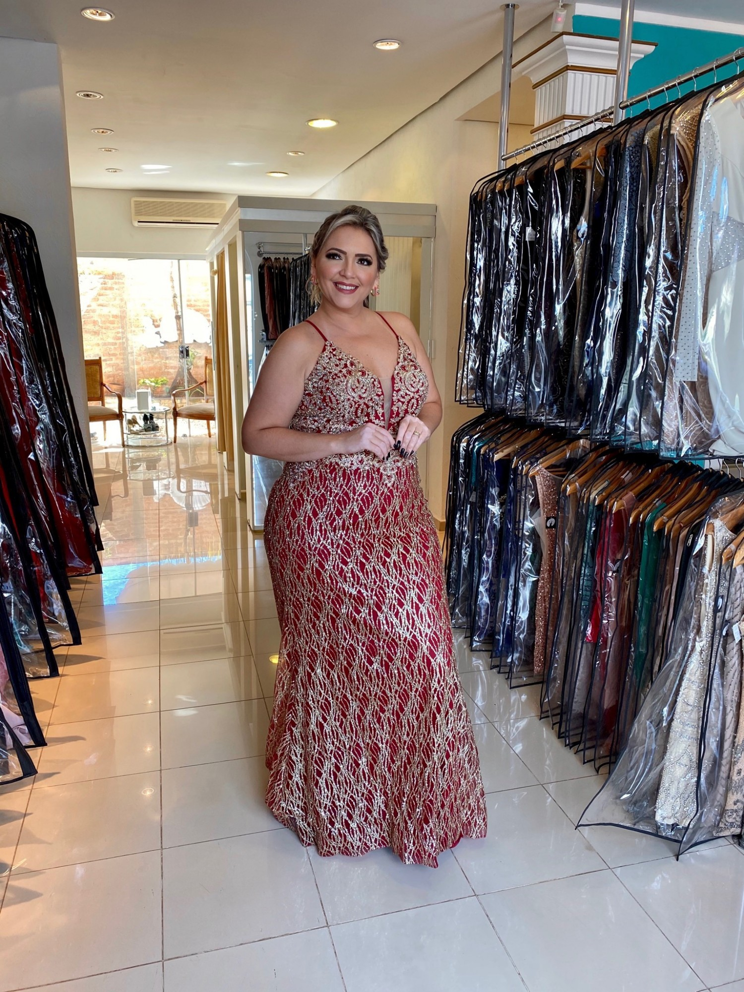 60% OFF!!! Vestido Longo Marsala PLus Size