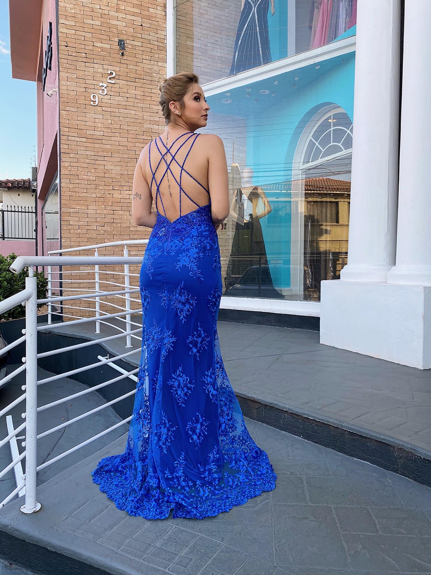 50% OFF!!! Vestido Longo Azul