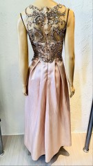 Usado - Vestido Longo Rosa Busto Pedra