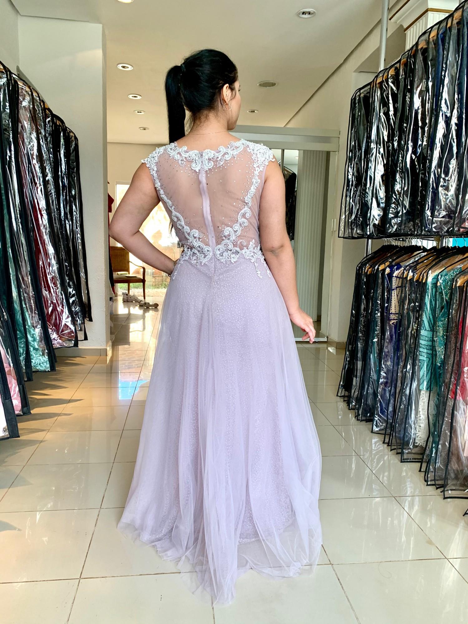Vestido Longo Plus Size Rosa Claro
