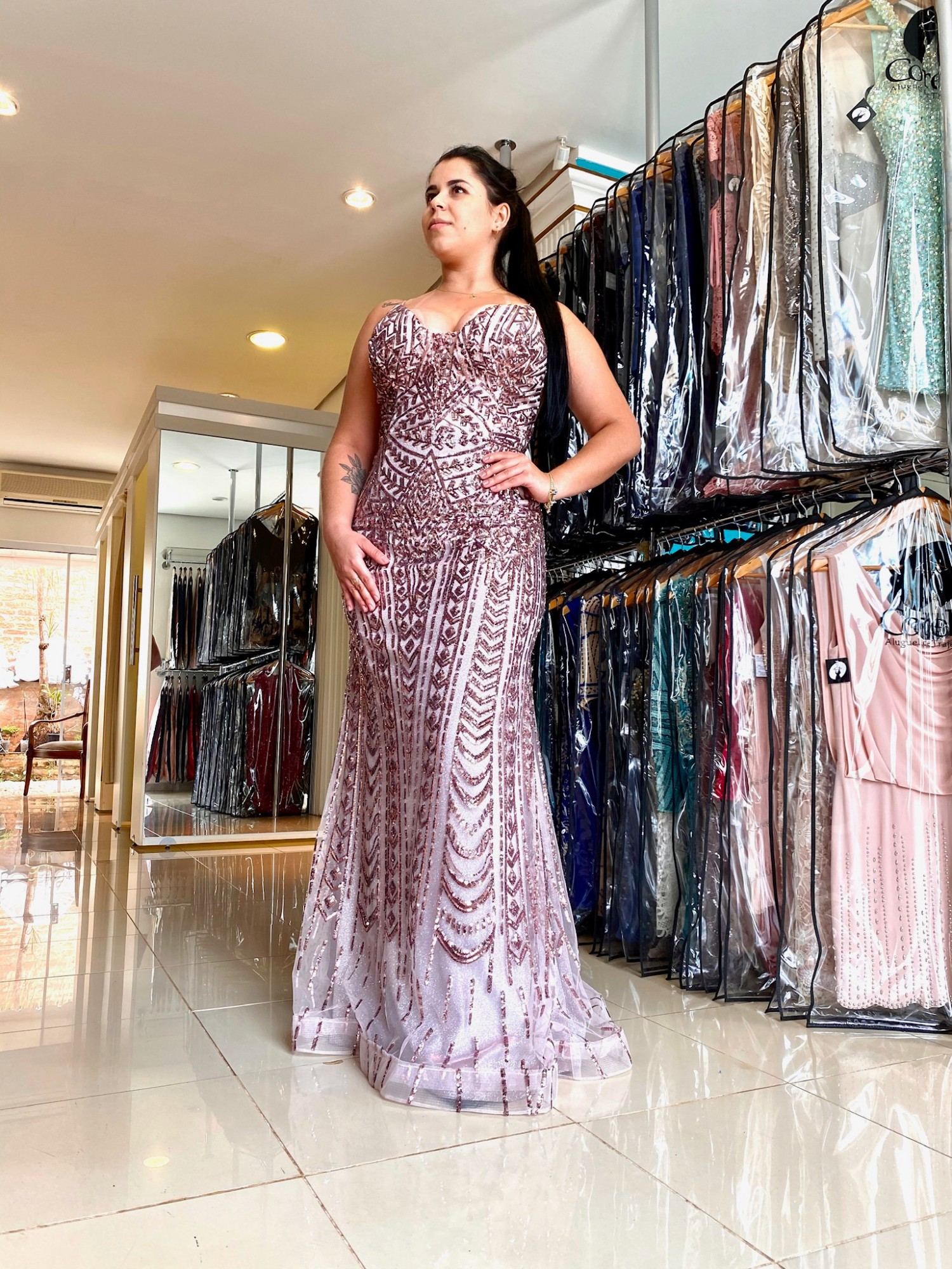 R$ 490,00 - Vestido Longo Lilás Plus Size