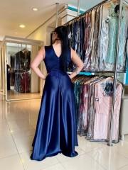 Vestido Longo Azul Marinho Plus Size